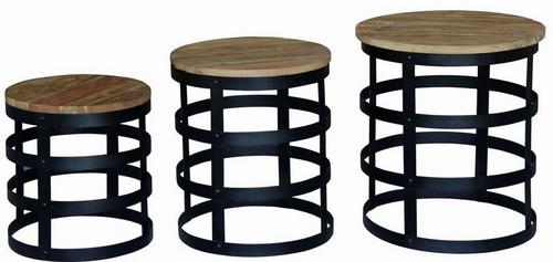 OVINE SET OF 3 LAMP TABLES ( NT 300 NUT)    - NATURAL TEAK