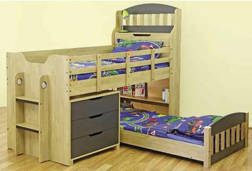 SINGLE TOBY CABIN / MIDI SLEEPER BUNK (EXCLUDING SINGLE UNDER BED & 3 DRAWER CHEST) - OAK / CHARCOAL