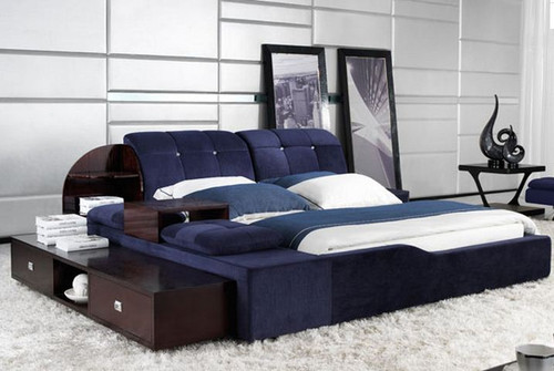 QUEEN  HALCYON FABRIC BED WITH LONG SIDE TABLE (B6157) - ASSORTED COLOURS