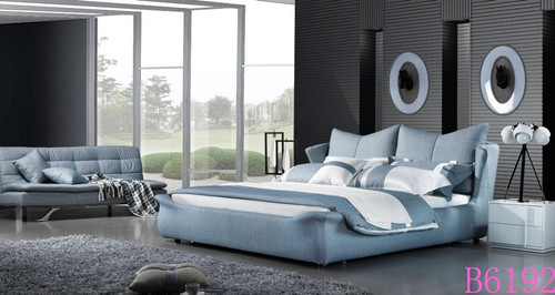 KING NEWRY FABRIC WING  BED (B6192) - ASSORTED COLOURS
