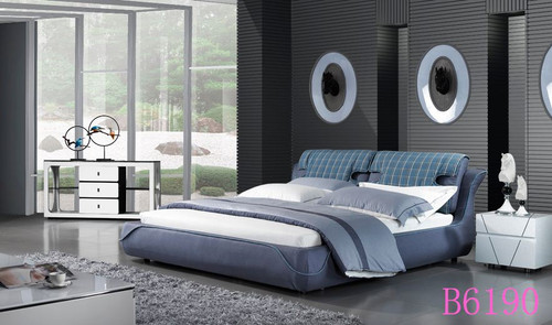 QUEEN WOLVER  FABRIC BED (B6190) - ASSORTED COLOURS