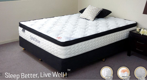 QUEEN  SPINAL DELUXE  POCKET SPRING ENSEMBLE WITH BLACK SUEDE BASE (MATTRESS & BASE)  - PLUSH