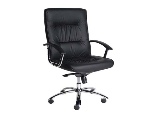 VICEROY HIGH BACK EXECUTIVE LEATHERETTE OFFICE CHAIR WITH CHROME FRAME - BLACK
