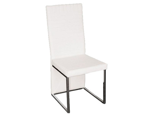 RANDWICK LEATHERETTE / CHROME DINING CHAIR - WHITE