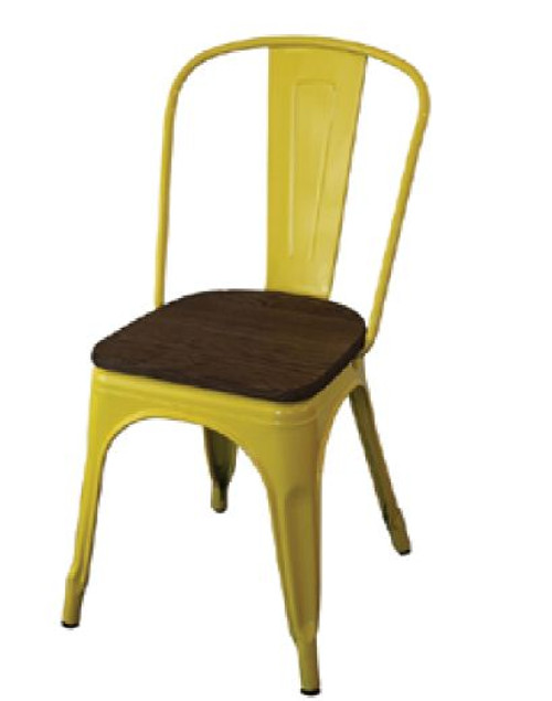 TOLEDO CHAIR WITH ADDITIONAL TIMBER SEAT - YELLOW