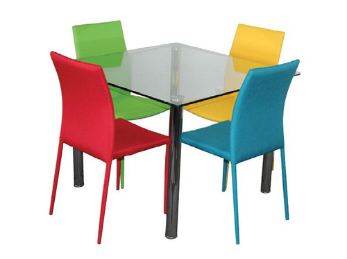 SVEN  5  PIECE DINING SETTING TABLE WITH  ROUND TUBE LEG - 1000(W) X 1000(D) - CHAIRS AVAILABLE IN ASSORTED COLORS