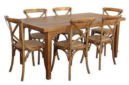 ORLEANS 7  PIECE DINING SETTINGS - 1800(L) x 900(W) - NATURAL