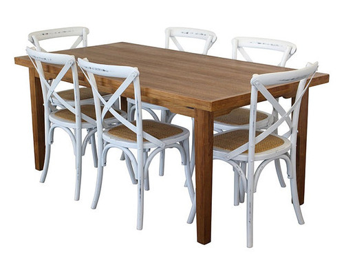 ORLEANS 7  PIECE DINING SETTINGS - 1800(L) x 900(W) - NATURAL / WORN WHITE
