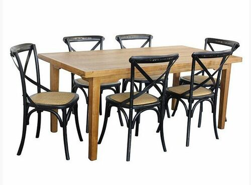 ORLEANS 7  PIECE DINING SETTINGS - 1800(L) x 900(W) - NATURAL / WORN BLACK