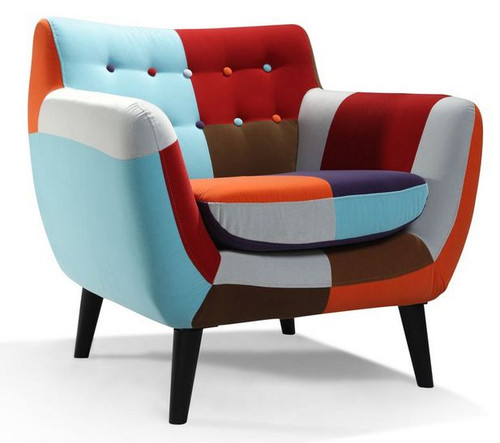 PATCH UPHOLSTERED CHAIR -MULTICOLOR