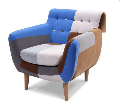 PATCH UPHOLSTERED ARM CHAIR  - BLUE / NATURAL PATCH