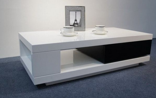 BOURKE 1200(W) COFFEE TABLE  WITH DRAWER (WD-123)  - 340(H) X 1200(W) X 600(D)- HIGH GLOSS  WHITE