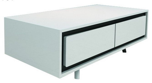 CALI 2 DRAWERS COFFEE TABLE (WD-168)  -400(H) X 1200(W) X 600(D)-  HIGH GLOSSY  WHITE