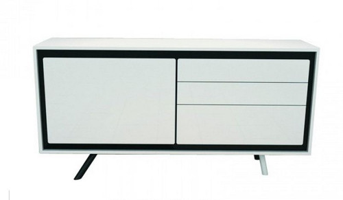 CALI 1600(W) BUFFET WITH 1 DOOR / 3 DRAWERS (WD-168) - 1600(L) - HIGH GLOSSY  WHITE