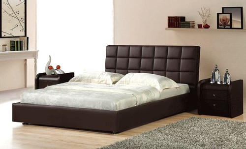 QUEEN  KANSAS  LEATHERETTE  BED (B018) - ASSORTED COLORS AVAILABLE