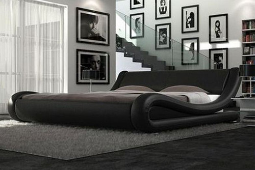 QUEEN SANTOS  LEATHERETTE  BED (B020) - ASSORTED COLORS AVAILABLE