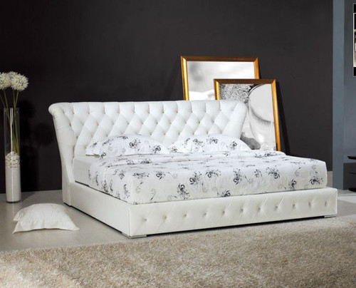 QUEEN  JAVAN  LEATHERETTE  BED (B028) - ASSORTED COLORS AVAILABLE
