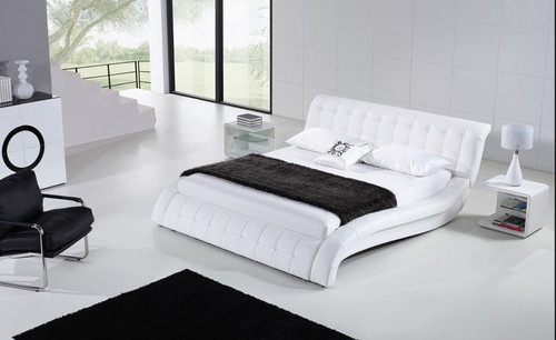 QUEEN  ELAM  LEATHERETTE  BED (B029) - ASSORTED COLORS AVAILABLE (SEE COLOR BOARD)