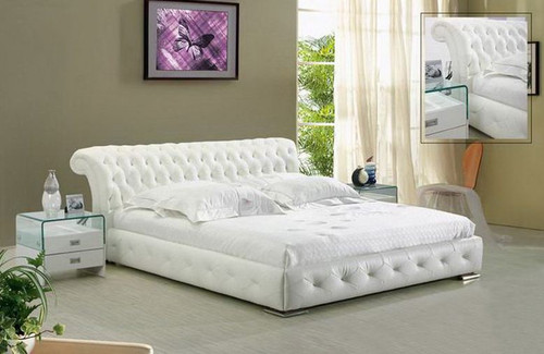 QUEEN  DECLAN  LEATHERETTE  BED (B046) - ASSORTED COLORS AVAILABLE (SEE COLOR BOARD)