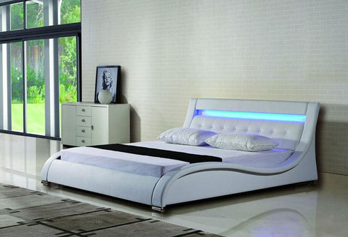 KING  ADANA LEATHERETTE  BED WITH LED LIGHT (B084) - ASSORTED COLORS AVAILABLE (SEE COLOR BOARD)