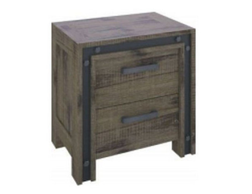 WAREHOUSE ACACIA WOOD 2 DRAWER BEDSIDE TABLE (VWR-002)  - KHAKI