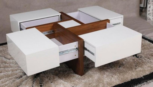 COLLINS 900(L)  X 900(W)  SQUARE COFFEE TABLE  - ( WD-209) - GLOSS WHITE / WALNUT