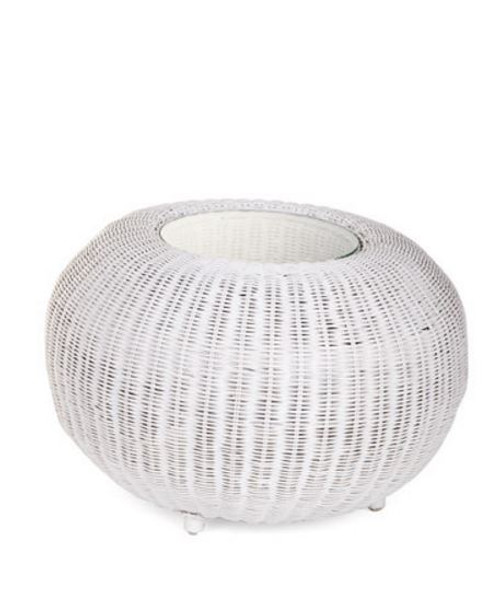 RATTAN (DET802/S)  SIDE TABLE WITH GLASS TOP - 600(DIAM) - WHITE