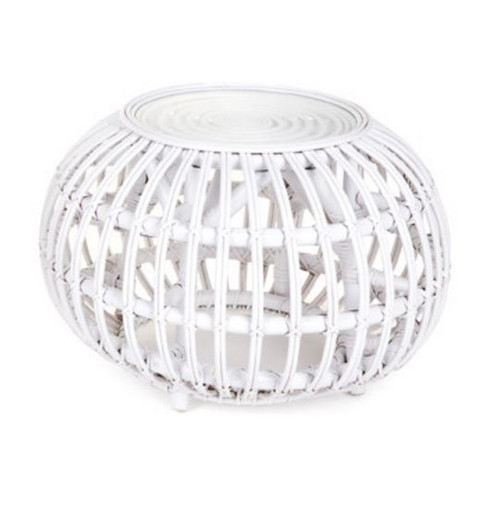 RATTAN  (DET801/S)   ROUND   SIDE TABLE  - 500(DIAM) - WHITE