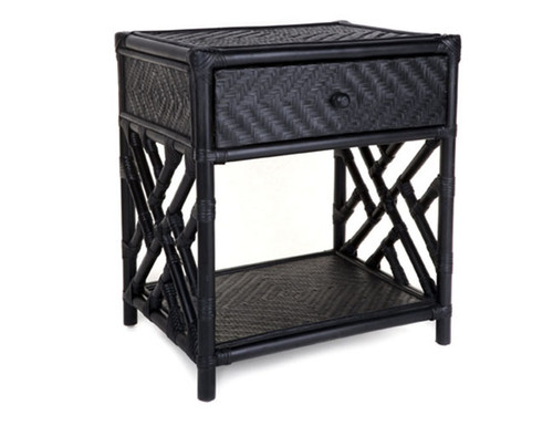 RATTAN (DET271) SINGLE  DRAWER BEDSIDE TABLE -  BLACK