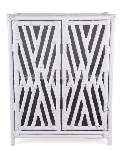 RATTAN  2 DOOR  CABINET (DET371W) - SOLID WHITE