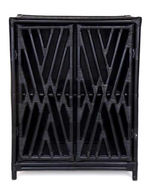 RATTAN  2 DOOR  CABINET (DET371) - BLACK