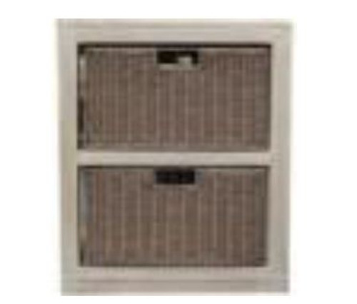 RATTAN   2  DRAWER  CABINET  600(H)   x  450(W)   -  BEIGE WASH