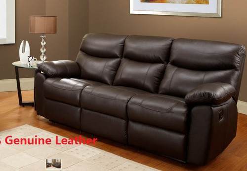 TORONTO 3RR 100% LEATHER RECLINER LOUNGE - BLACK , CAPPUCCINO , CHOCOLATE