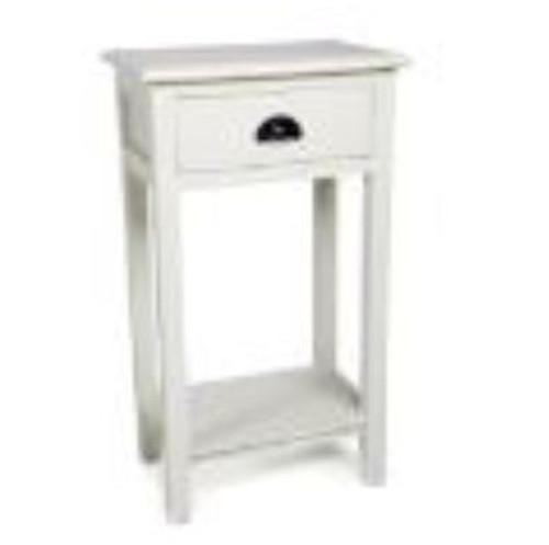 SINGLE  DRAWER  SIDE TABLE (DET923)  -  WHITE