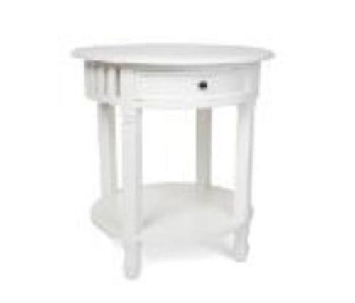 SINGLE DRAWER ROUND SIDE TABLE (DET923) - BROWN OR JASMINE
