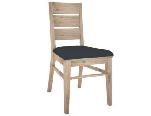 OYSTER BAY DINING CHAIR WITH LEATHERETTE  SEAT (VOB-003) -  ASH