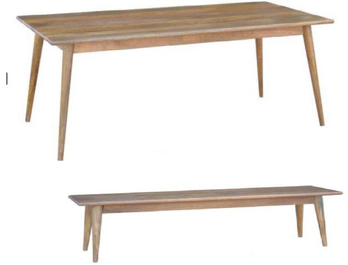 RETRO 3 PIECE DINING SETTING   - 1800(L) x 900(W) TABLE WITH 2 BENCHES  - LIGHT OAK