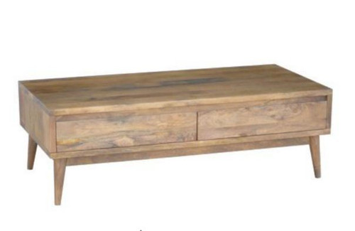 RETRO COFFEE TABLE WITH 2 DRAWERS (WORE-003) - 400(H) X 1250(W) X 600(D) LIGHT OAK