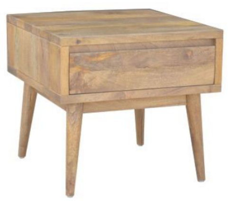 RETRO  SIDE TABLE  WITH 1 DRAWER  (WORE-006) - LIGHT OAK