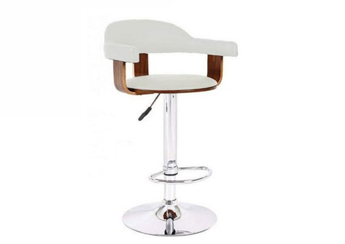 VENICE GASLIFT BAR STOOL -   WHITE  + WALNUT