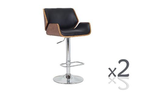 BRISCIA  GASLIFT (SET OF 2) BARSTOOLS - SEAT: 930-1140(H) -   BLACK / WALNUT
