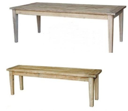 STAMFORD  3 PIECE DINING SETTING WITH 2 BENCHES TABLE 2200(W)  x 1000(D) - NATURAL