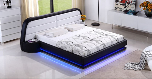 QUEEN  METHODY  LEATHERETTE BED  WITH FANCY LED LIGHT (CD008) - ASSORTED COLORS