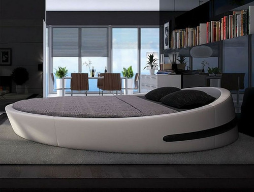 MINAJ ROUND  LEATHERETTE BED  (CD004) - ASSORTED COLORS