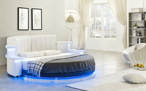 MANDESTER  ROUND  LEATHERETTE BED WITH 15 COLORS LED LIGHT & IPHONE 5/6 SUPPORT / BLUETOOTH  (CD003) - ASSORTED COLORS