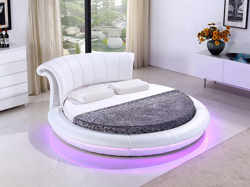 RONAN ROUND LEATHERETTE BED WITH 15 COLOURS LED LIGHT (CD002)   ASSORTED  COLORS