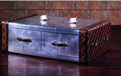 JAIMEN  2 DRAWERS GENUINE LEATHER + ALUMINIUM COFFEE TABLE - 420(H) X 1390(W) X 880(D) - ASSORTED COLOUR