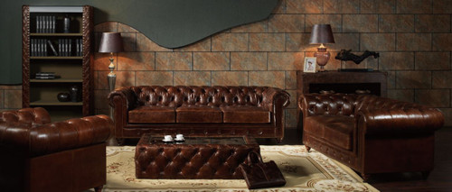 BONJOUR SAMAR   3 S + 2S +1S  VINTAGE FULL LEATHER LOUNGE SUITE (EXCLUDING COFFEE TABLE) - ASSORTED COLOUR