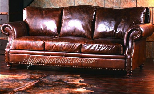 GRAFTON  3  SEATER FULL LEATHER VINTAGE SOFA - ASSORTED COLOURS