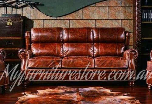 PREMIER   3S  SEATER  VINTAGE FULL LEATHER SOFA  - ASSORTED COLOURS